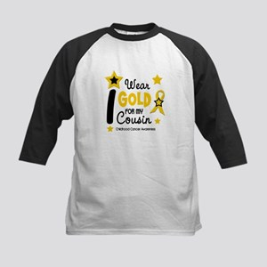 I Wear Gold 12 Cousin CHILD CANCER Kids Baseball J