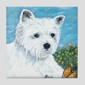 Westie & Butterfly Tile Coaster