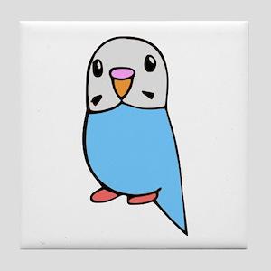 Cute Blue Budgie Tile Coaster