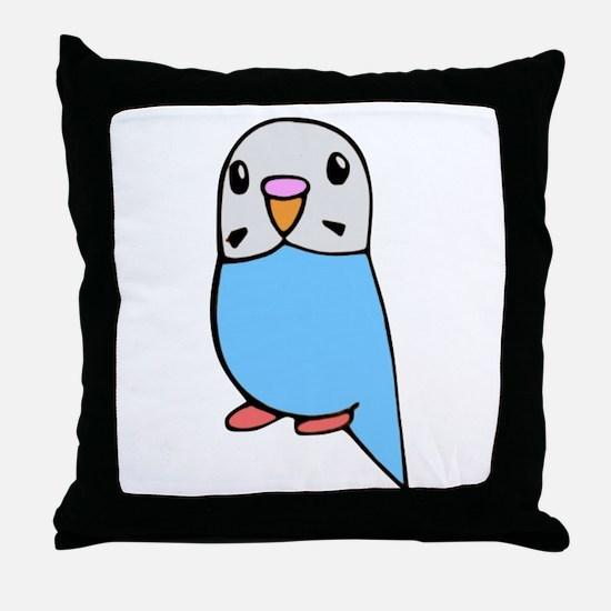 Cute Blue Budgie Throw Pillow