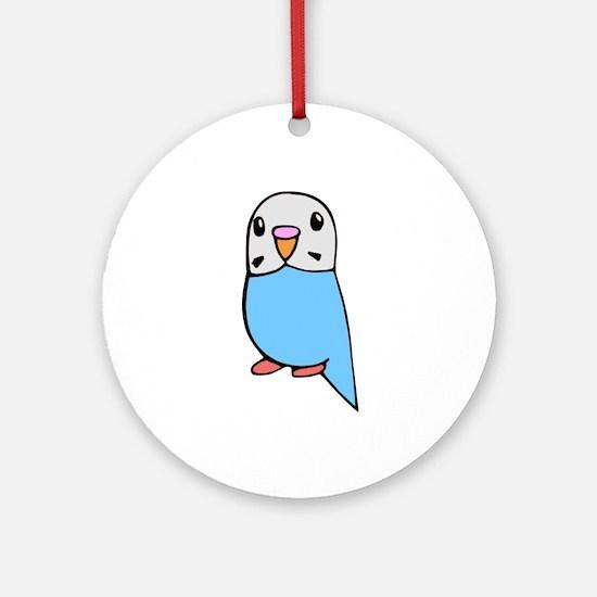 Cute Blue Budgie Ornament (Round)