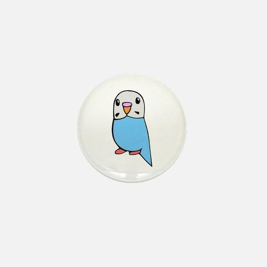Cute Blue Budgie Mini Button