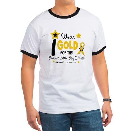 I Wear Gold 12 Brave Boy CHILD CANCER Ringer T