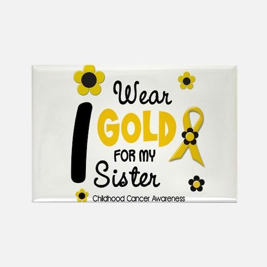 I Wear Gold 12 Sister CHILD CANCER Rectangle Magne