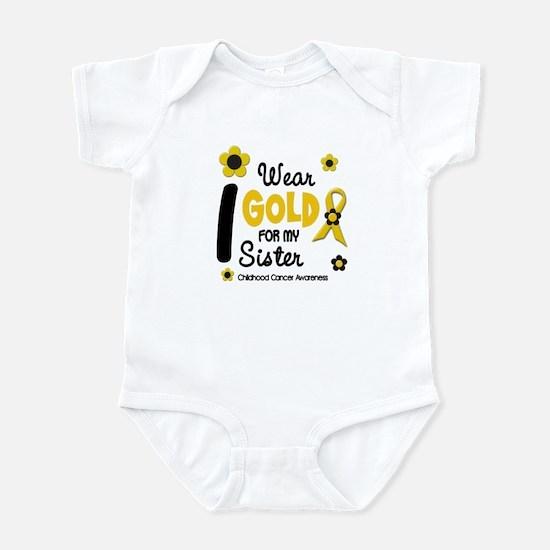 I Wear Gold 12 Sister CHILD CANCER Infant Bodysuit