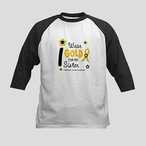I Wear Gold 12 Sister CHILD CANCER Kids Baseball J
