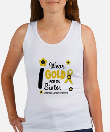 I Wear Gold 12 Sister CHILD CANCER Women's Tank To