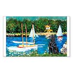Sailboats / Flat Coated Retri Sticker (Rectangle)
