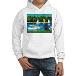 Sailboats / Flat Coated Retri Hooded Sweatshirt