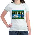 Sailboats / Flat Coated Retri Jr. Ringer T-Shirt