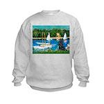 Sailboats / Flat Coated Retri Kids Sweatshirt