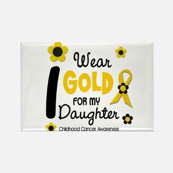 I Wear Gold 12 Daughter CHILD CANCER Rectangle Mag