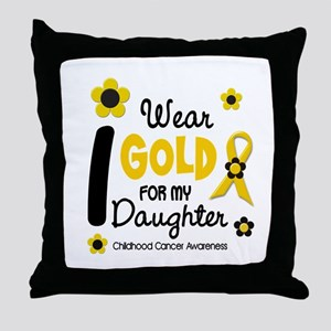 I Wear Gold 12 Daughter CHILD CANCER Throw Pillow