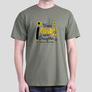I Wear Gold 12 Daughter CHILD CANCER Dark T-Shirt