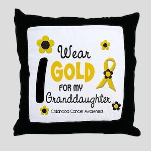I Wear Gold 12 Granddaughter Throw Pillow