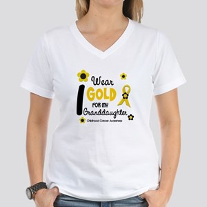 I Wear Gold 12 Granddaughter Women's V-Neck T-Shir