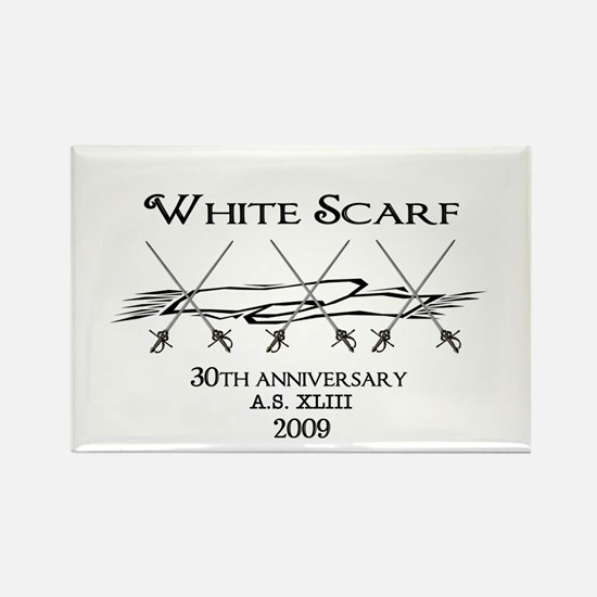 White Scarf 30th Rectangle Magnet