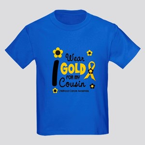 I Wear Gold 12 Cousin CHILD CANCER Kids Dark T-Shi