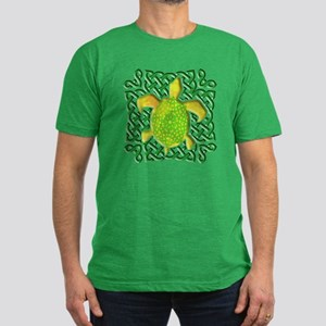 Celtic Knot Turtle (Green) Men's Fitted T-Shirt (d