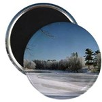 "Frosty River Scene 2.25"" Magnet (10 pack)"