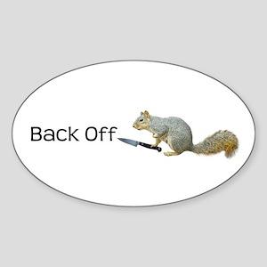 Squirrel Knife Back Off Sticker (Oval)