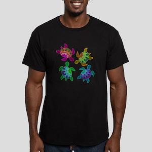Multi Painted Turtles Men's Fitted T-Shirt (dark)