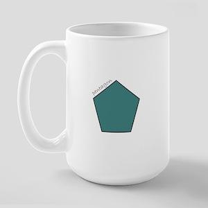 teal pentagon Large Mug