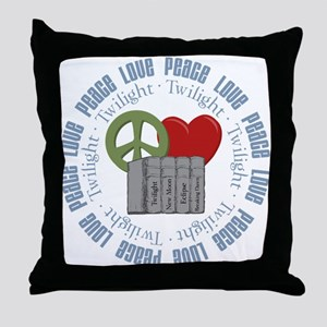 Peace Love Twilight Books Throw Pillow