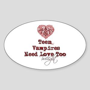 Teen Vampires Need Love Too Bumper Oval Sticker