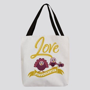 I Love My Kindergarten Turkeys Polyester Tote Bag