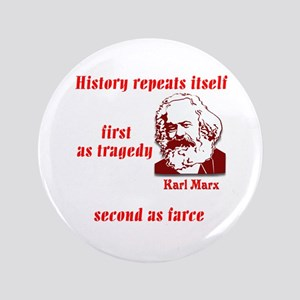 """Karl Marx on History 3.5"""" Button"""