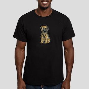 Border Terrier Bark Men's Fitted T-Shirt (dark)