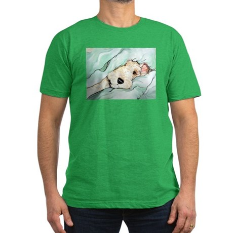 Napping Wire Fox Terrier Men's Fitted T-Shirt (dar