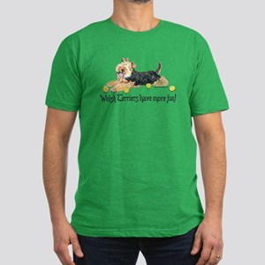 Welsh Terriers Fun Dogs Men's Fitted T-Shirt (dark