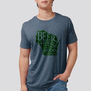 Beer, Chees & Good Company in Green T-Shirt