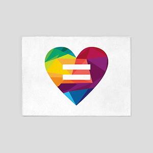 LGBT Rights Rainbow Heart Marriage 5'x7'Area Rug