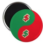 "Save Spend Yin Yang 2.25"" Magnet (10 pack)"