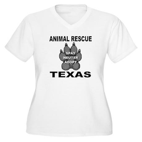 The Texas Animal Rescue Paw Women's Plus Size V-Ne