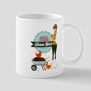 Backyard Farm Girl Large Mugs