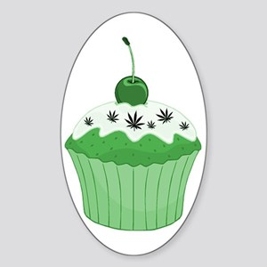 Mary Jane's Green Cupcake Oval Sticker