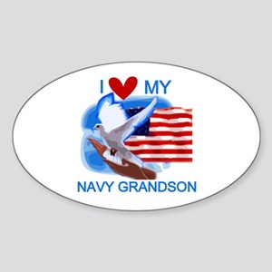 Love My Navy Grandson Oval Sticker