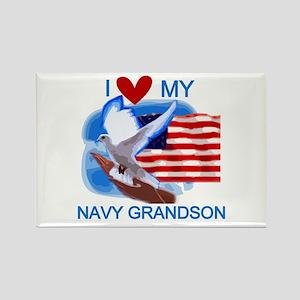 Love My Navy Grandson Rectangle Magnet