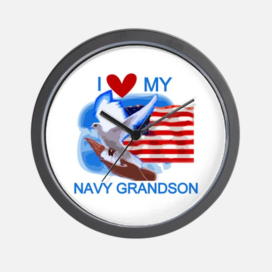 Love My Navy Grandson Wall Clock