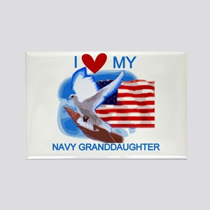 Love My Navy Granddaughter Rectangle Magnet
