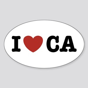 I Love CA Oval Sticker