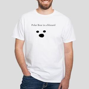 Polar Bear in a blizzard Mens White T-Shirt