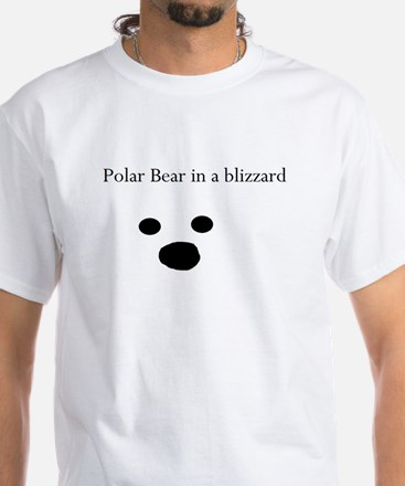 Polar Bear in a blizzard Mens White T-Shirt