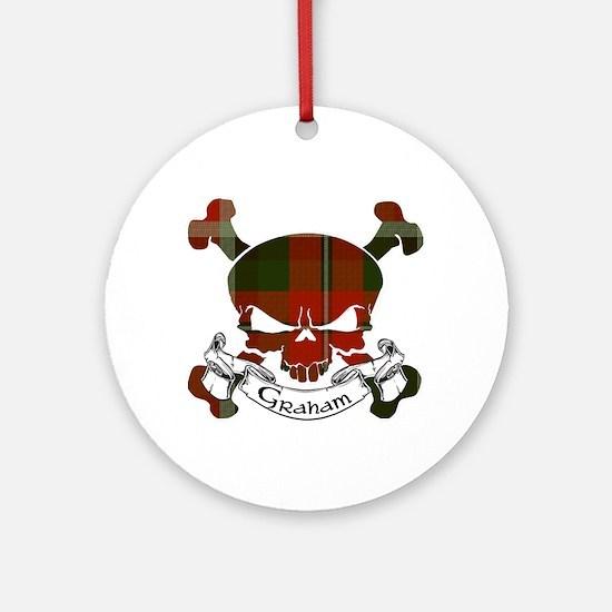 Graham Tartan Skull Ornament (Round)