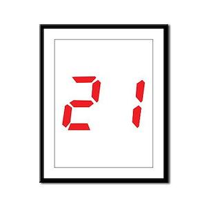 21 twenty-one red alarm clock Framed Panel Print