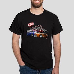 Dodge Challenger Gas Station Scene Dark T-Shirt